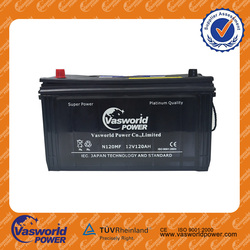 Export high quality 12V JIS STD N120SMF 120AH car battery Lead acid car battery