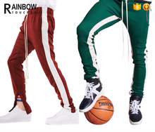 Wholesale Custom Mens Slim Fit Gym Polyester Side Stripe Track Sweat Pants