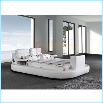 modern design leather beds with built in tv buy beds. Black Bedroom Furniture Sets. Home Design Ideas