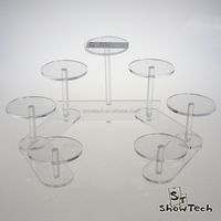 Small Jewelry Display Desktop Stand Case Clear Acrylic with 7 Tiers Round Base ST-MLARC7T E04