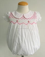 100% white voile cotton short sleeves wholesales cotton smocked & embroided baby girl romper