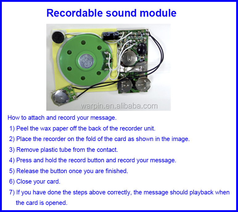 Recordable voice button modules/ Voice recorder modules for cards