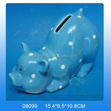 Wholesale ceramic unique coin banks with blue pig shape