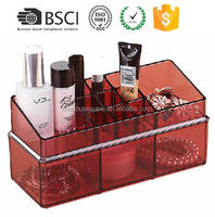 M&E Acrylic Makeup Organizer Storage Box Lipsticks Holder Cotton Swab Cleaning Pad Q-tips Holder Plastic containers