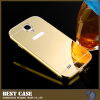2015 24k gold plated luxury mirror metal aluminum back cover for samsung s4 mirror phone case for s4