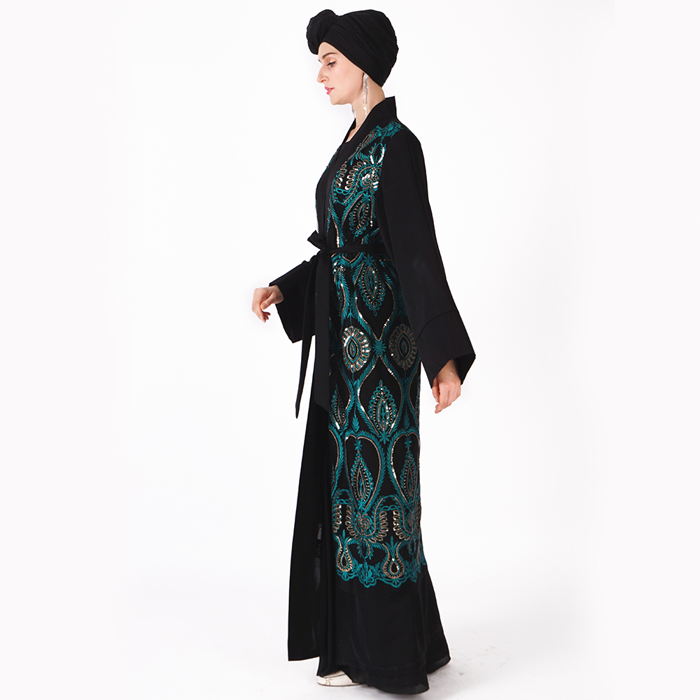 2019 Eid holidays dreamy crafted beading caftan moroccan kaftan front open abaya kimono