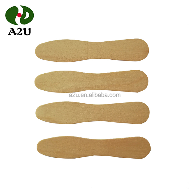 Disposable Birch Wooden Ice Cream Spoon with Paper Wrap 75mm