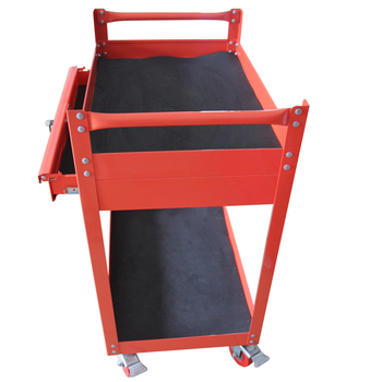Double Layers Red Power coating Garage derative Tool Trolley service cart