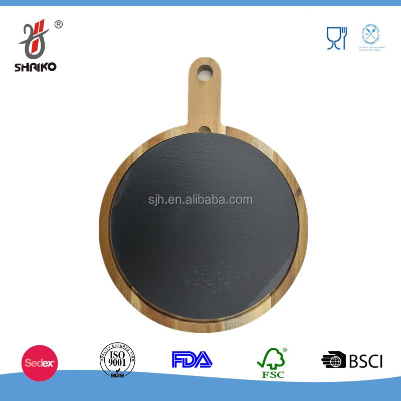 wholesale round natural stone slate pizza tray
