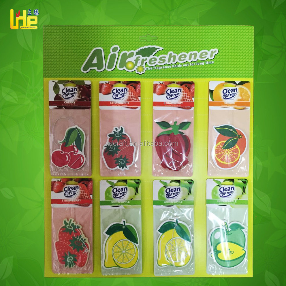 car perfume fruit shape and scented hanging paper air freshener for car