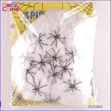 22 x Spiders - 45g Web - Halloween Party Decoration Stretchy White and Black