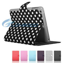 Fold Flip Stand Book Style Cute Polka Dots Leather Case for iPad MINI