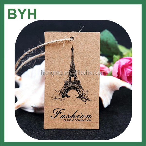 400g kraft paper hang tag with black color print garment hang tags kraft paper thicker hang tag for cloth