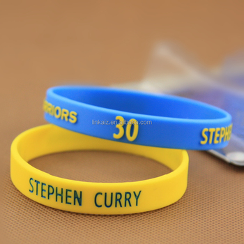 2016 Hot top quality custom name custom ink-filled silicone bracelet for nba