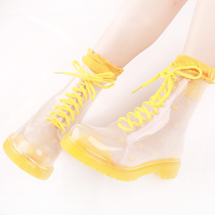 Wholesale fashion transparent rain boot pvc ankleboot shoe for women