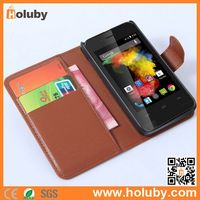 2015 Lichee Pattern Wallet Style Magnetic Flip Stand PC + PU Leather Flip Case Cover for Wiko Goa