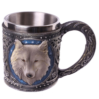 Halloween Animal Cartoon Lone Wolf King Drinking Cup 3D Wolf Pattern Retro Resin Stainless Steel Lining Coffee Mug