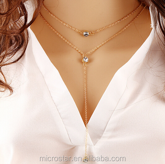 JINHUA IN STOCK Fashion Charm Jewelry Bib Pendant Crystal Choker Layer Gold Chain Necklace For Sale