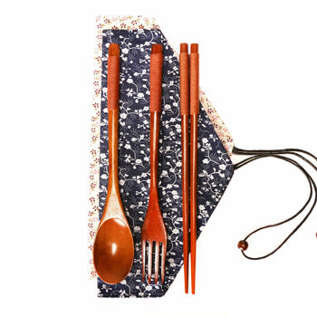 3 pieces wooden tableware set wooden fork and spoon with cotton bag