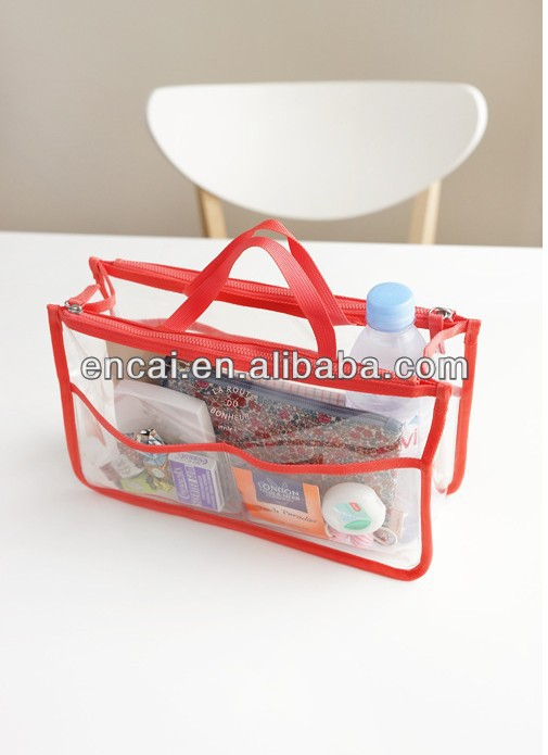 Encai Factory New Design PVC Travel Bag Organizer For Cosmetic/ Makeup Bag In Bag/Handbag Organizer Inserts With Double Zipper
