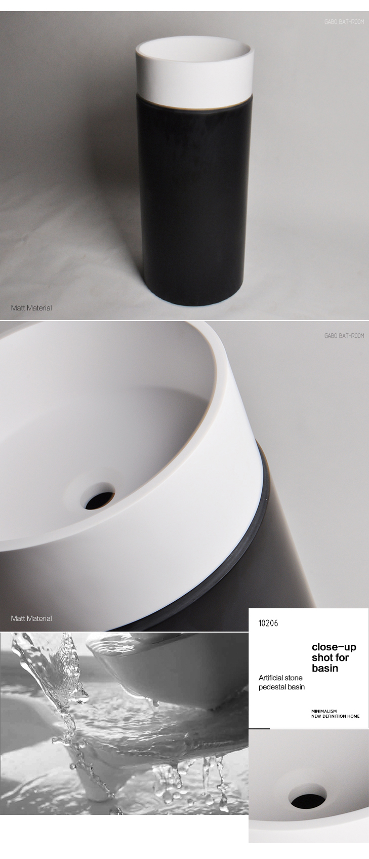 China Wholesale Black Pedestal Wash Basin for Cheap Price