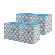 Dual Handle Cube Container - Set of 4 packaging Basket Bins - Foldable Fabric Storage Boxes