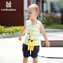 2017 newest summer clothing sets baby man vest and baby cotton frocks