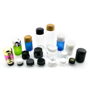 Smell proof 2 3 4 fl oz empty weed stash wide mouth containers round black child resistant hemp glass jars with cap