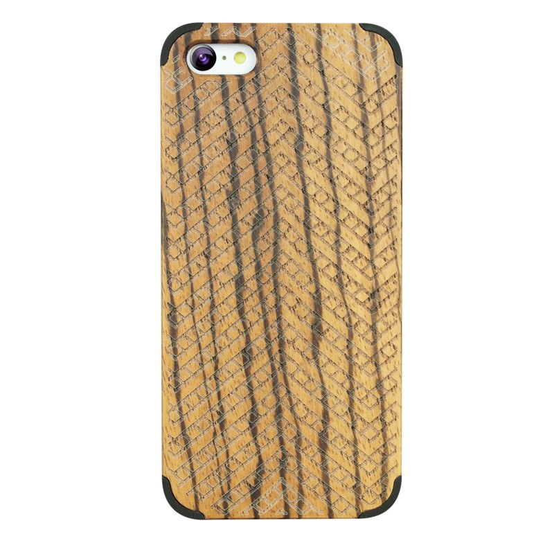 High Grade Nature Fancy Wood Cell Phone Bags For iphone 5C Smooth Handle Zebra Black