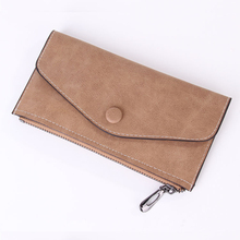Women Long Wallet Zipper PU Leather Frosted Casual Cell Phone Pocket envelope designed card bag