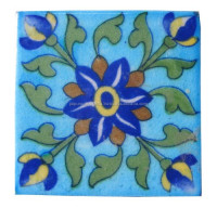 handmade blue pottery tiles / glazed ceramic swimming pool tile / sky blue ceramic tile / outdoor tiles
