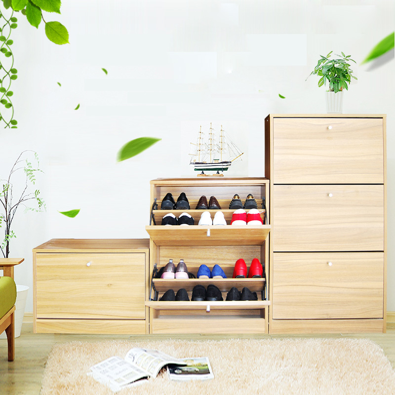 modern design multi-function customized color flip rack elegant cheap wooden mdf furniture shoe box storage cabinet design