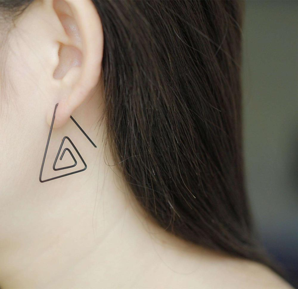 EH46 Stereo triangle copper wire earrings multi-layer stud earrings