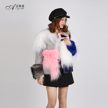 Women Fur Coat For Sale Short Jacket Real Silver Fox Mink Rex Rabbit Sheep Lamb Goat Winter Dress Pink White Grey Fluffy Price