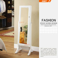 classic white full length standing mirror jewelry cabinet in the bedroom for ladies