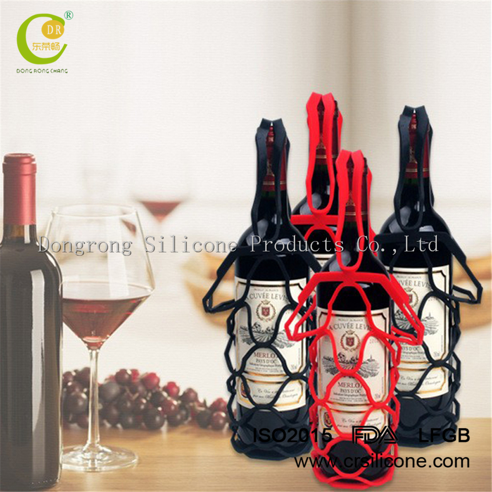 2017 creative product silicone collapsible <strong>wine</strong> web bags,Silicone Flexible <strong>Wine</strong> Bottle Holder Mesh bag