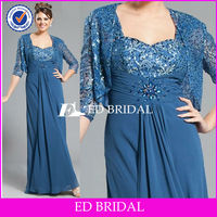 BY1261 New Design Blue Floor Length Mother of The Bride Dress With Small Jacket