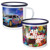 Chinese Suppliers Personalised Stainless Steel Enamel Coffee Cup Mug with Silver Rim