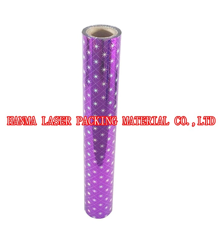 Eight Pointed Star holographic coated film for lamination or packing on whole sale