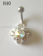 Daisy Flower Belly Rings Cubic Zirconia CZ Charm Silver Navel Button Ring 14g Surgical Steel Bar Ball belly-ring-D067