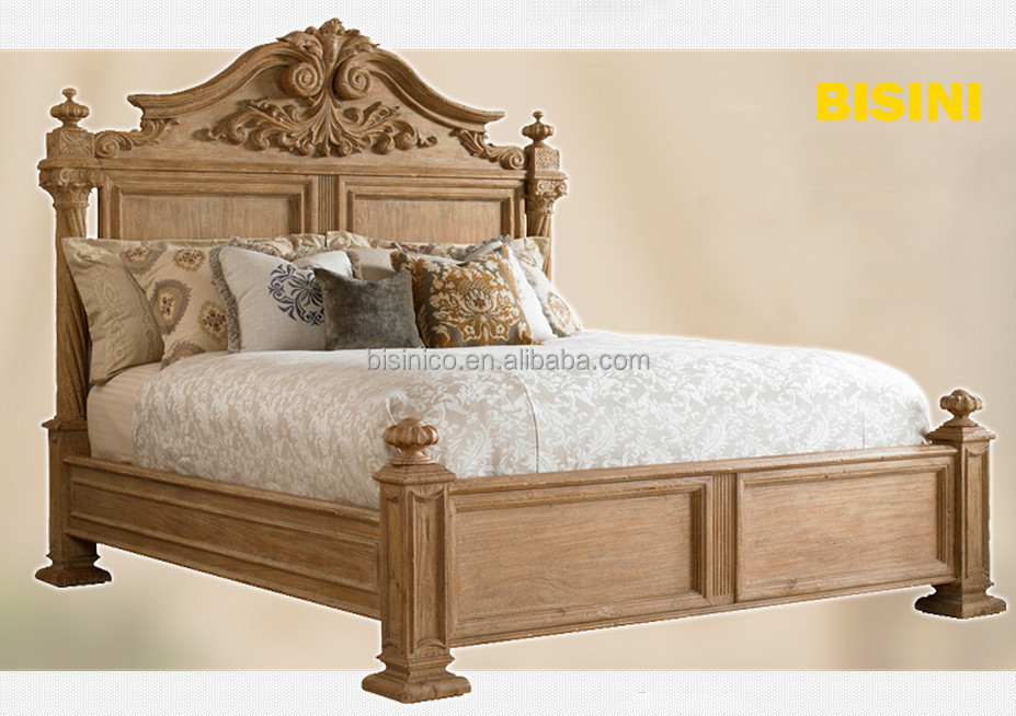 Luxury Spanish Colonial Revival Style Bed Retro Bedroom Furniture Wooden King Size European