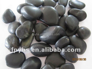 high polished black river stone