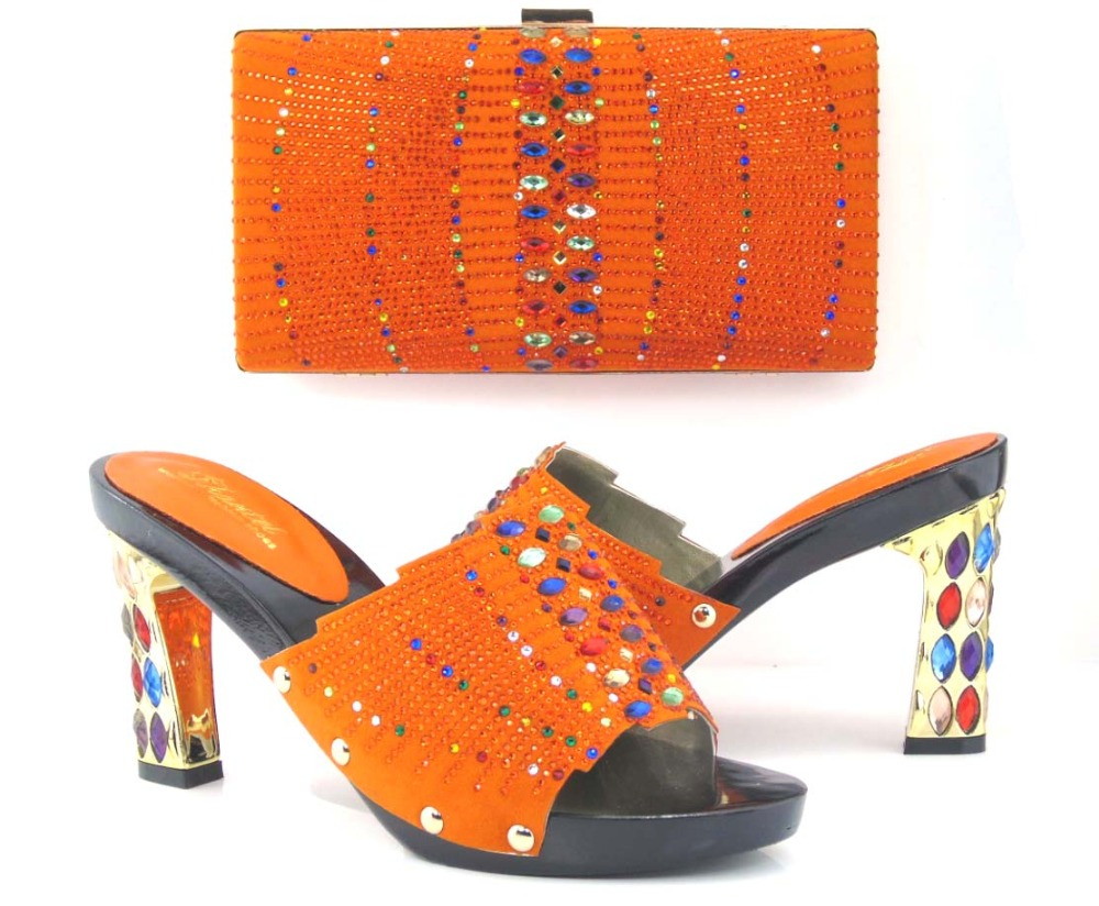 Ladies stone design handbags mix high-heeled shoes african shoes and bag set for women