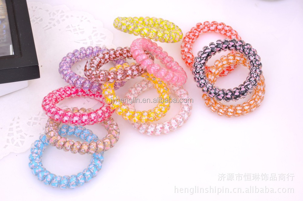 Printing telephone line hair tiedecoration jewelry wholesale cheap price hair accessories