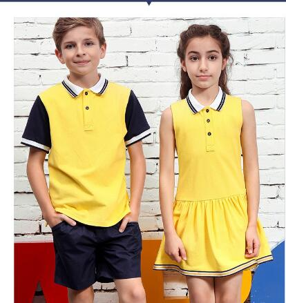 Custom Primary School Shirt /Short Skirt And Pants For Children Summer School Uniform