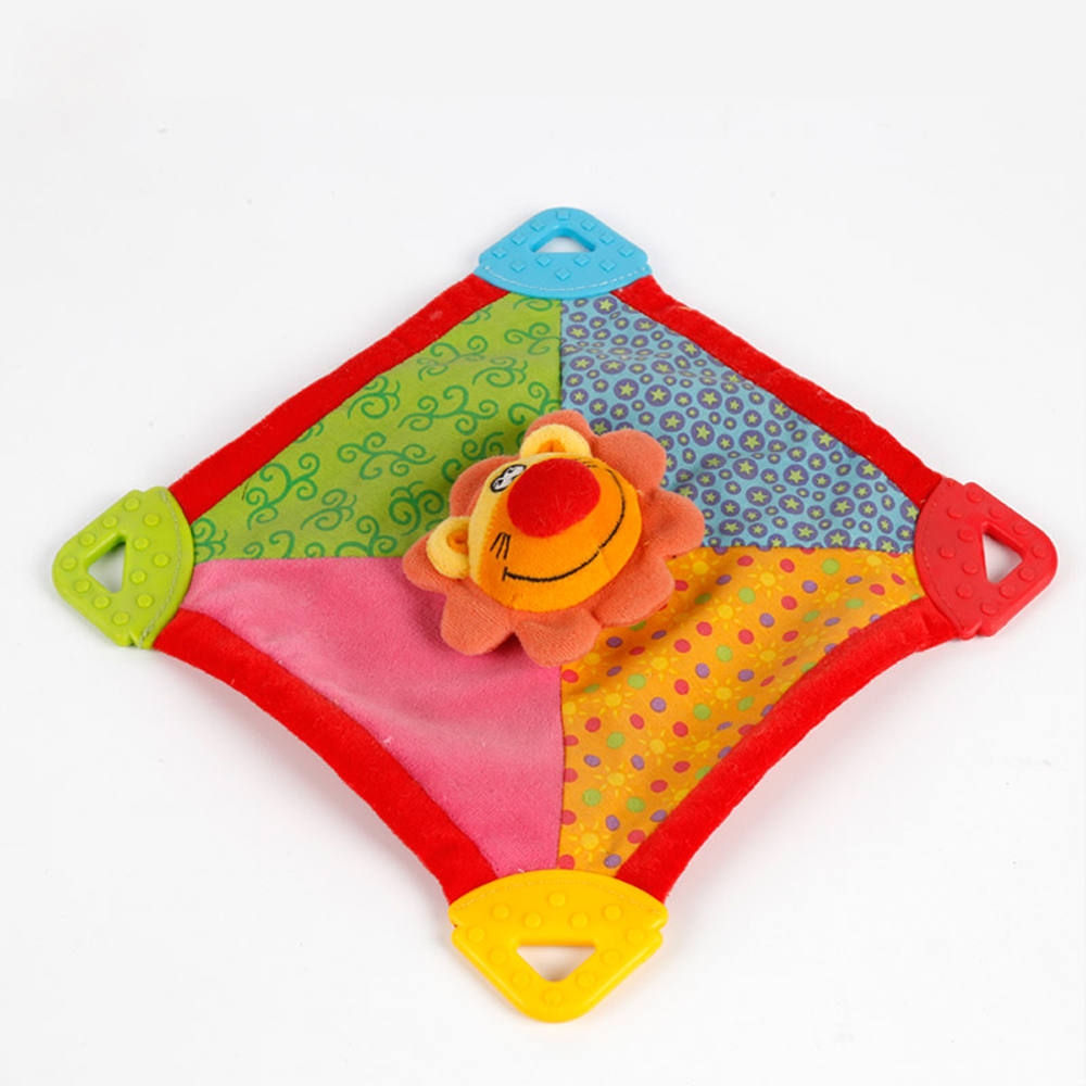 Sensory material baby development fleece blanket with teether baby blankie