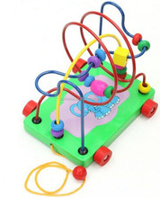 Baby educational Hands intellectual block toys Children's cartoon elephant Pull walker Wooden beads transport trailer truck