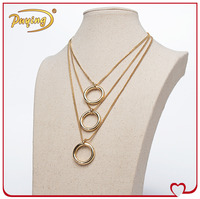 New designs circles pendant multilayer necklace gold 18k jewellery brand names imitation gold jewellery