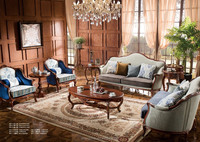TYZ883-2- luxury antique home furniture of living room wood sofa set