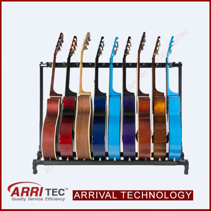 custom free standing metal display rack 9 pieces guitar playing music instrument floor stand